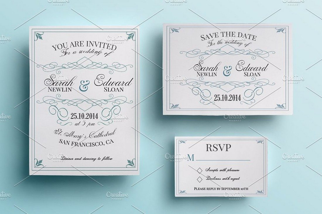 90 gorgeous wedding invitation templates design shack vintage wedding invitation packg stopboris Choice Image