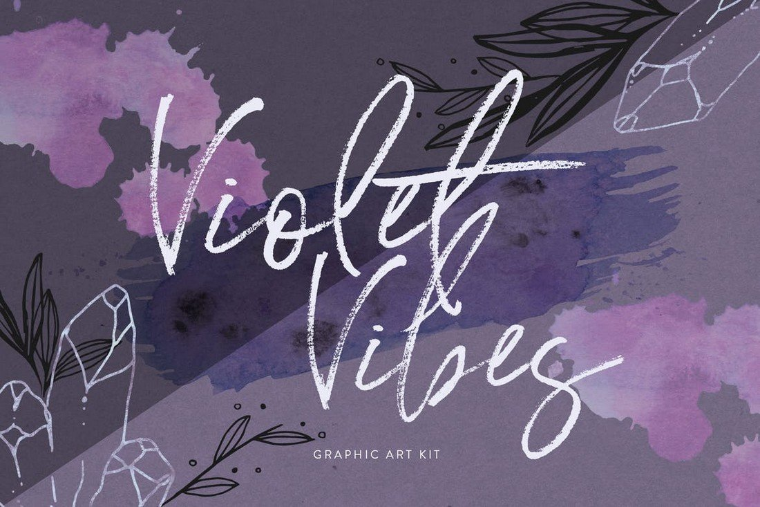Violet Vibes Graphic Art Kit for Affinity Designer