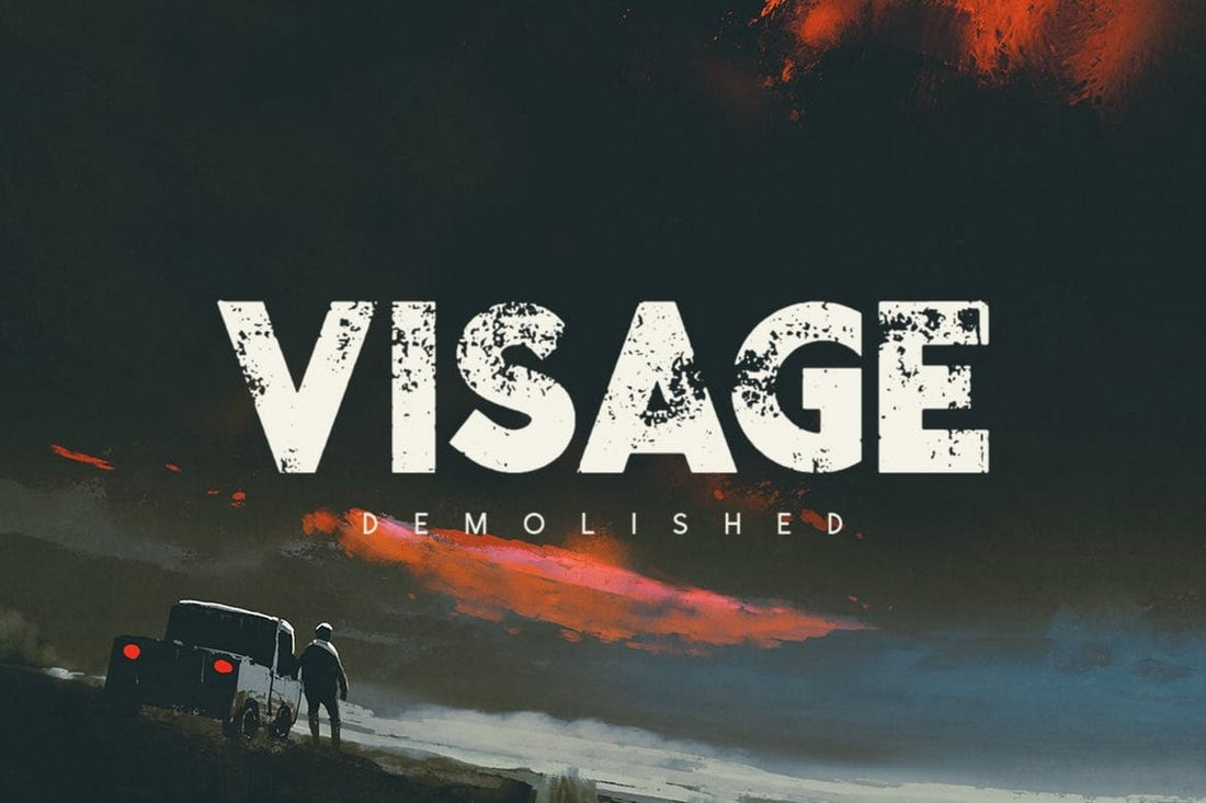 Visage Demolished - Textured Title Font