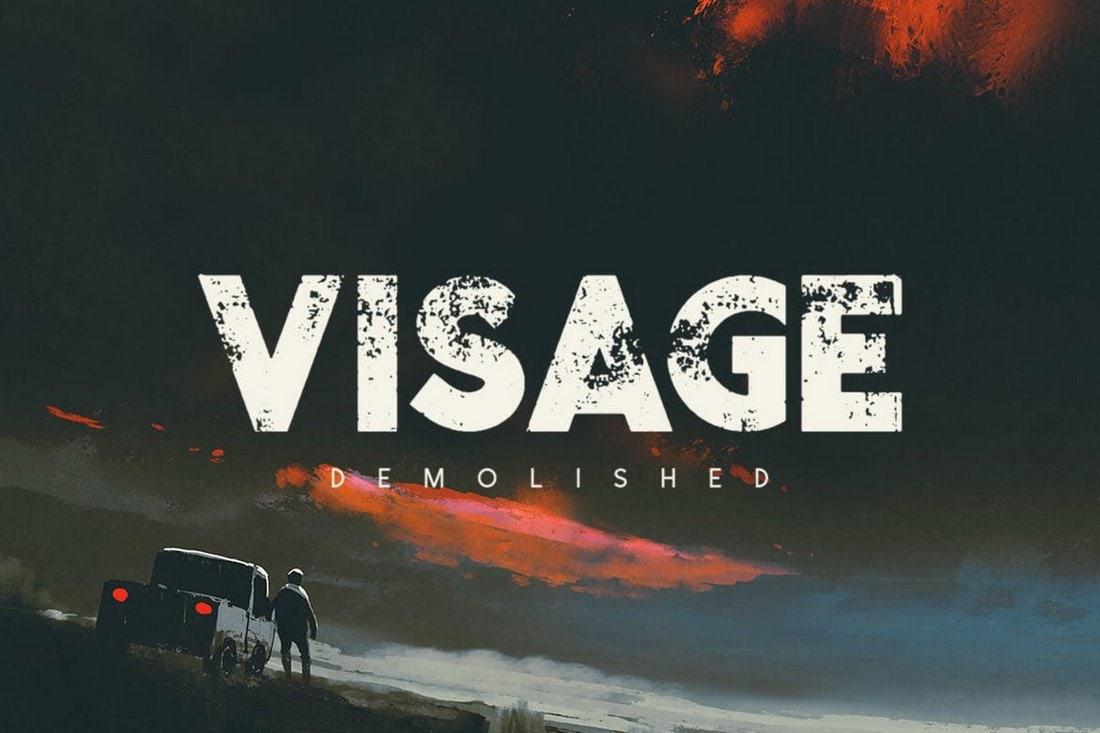 Visage Demolished - Textured Title Font
