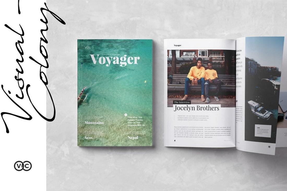 Voyager-Travel-Magazine-InDesign-Template 30+ Best InDesign Magazine Templates 2021 (Free & Premium) design tips