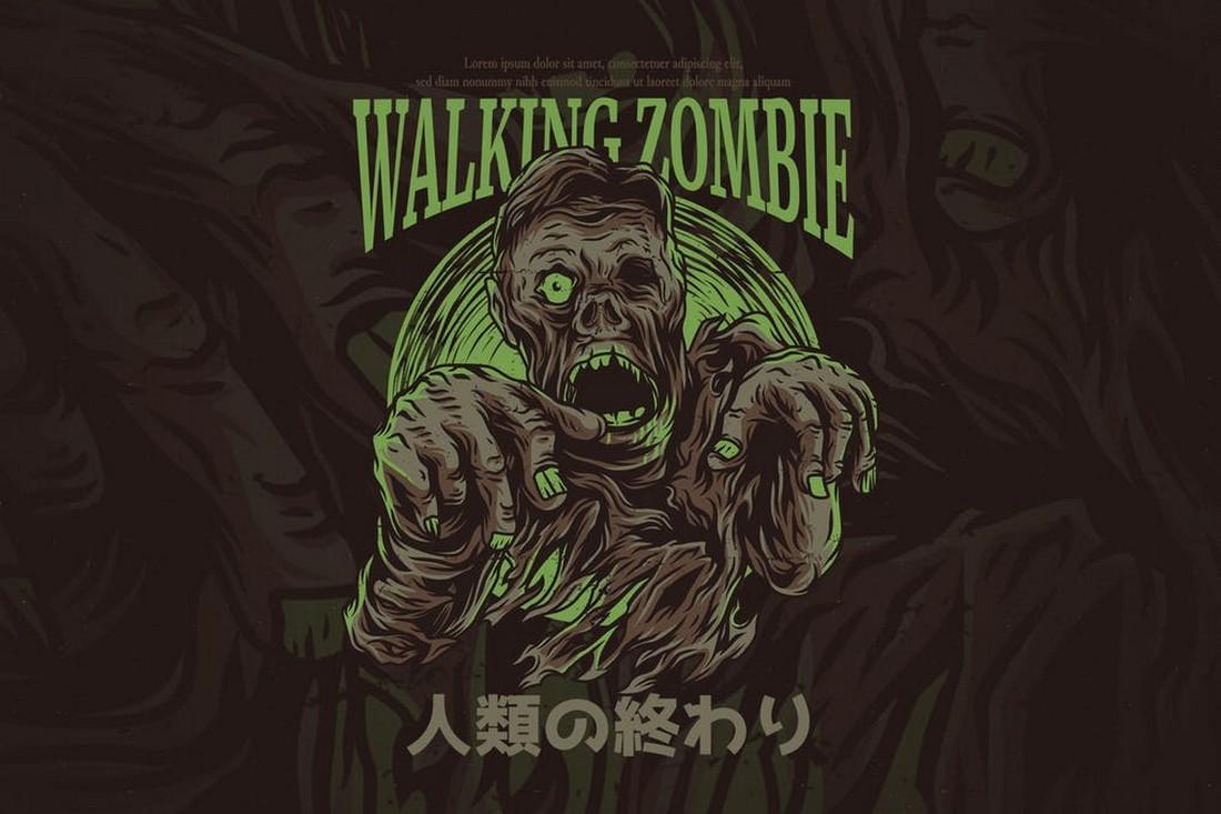 Walking Zombie - Spooky T-Shirt Design