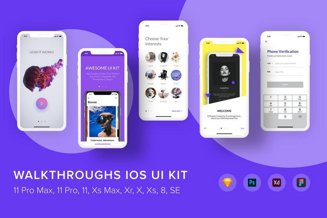 Walkthroughs iOS UI Kit Figma Templates