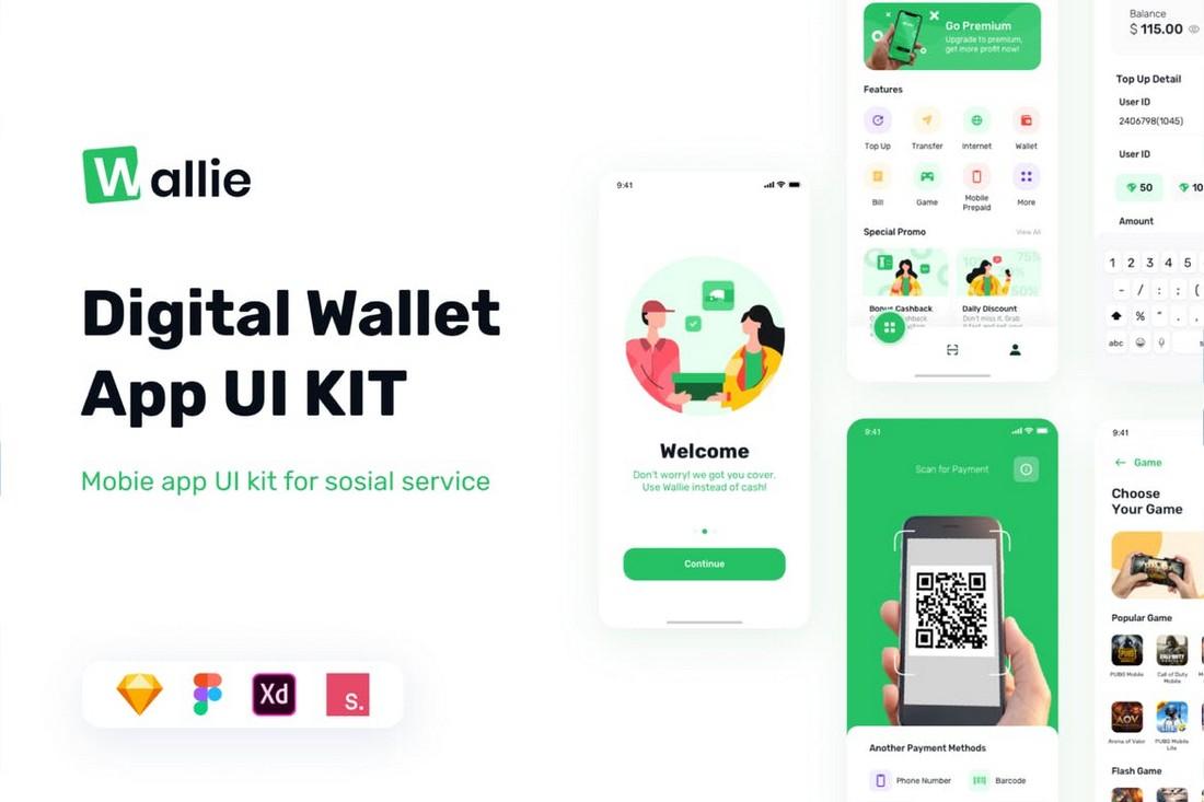 Wallie - Digital Wallet Apps UI Kit