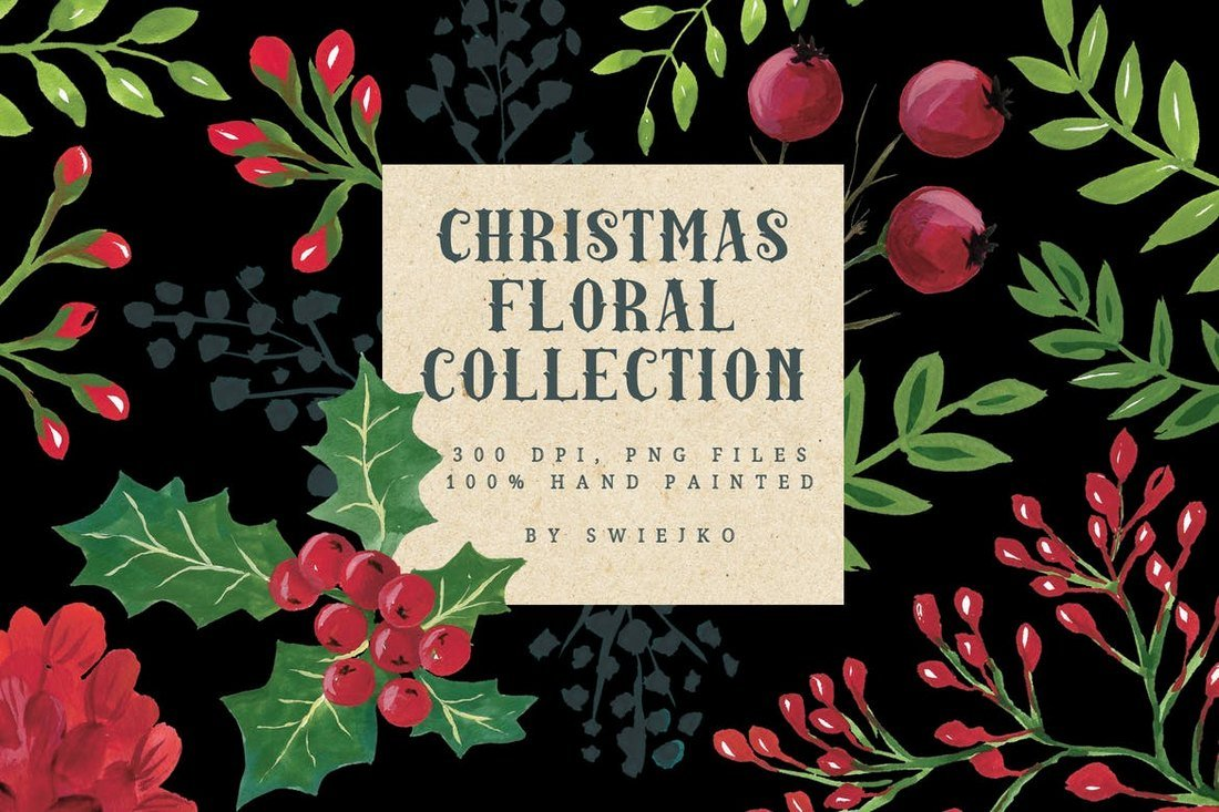 Watercolor-Christmas-Florals-Collection 100+ Christmas Mockups, Icons, Graphics & Resources design tips