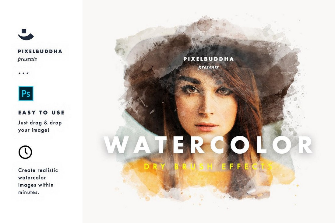 Watercolor-Dry-Brush-Effects-Layer-Styles 20+ Best Photoshop Layer Styles in 2021 (Free & Premium) design tips