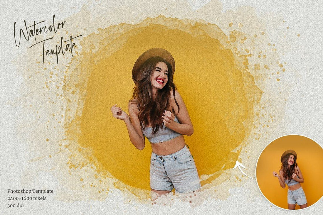 Watercolor Effect Photoshop Template