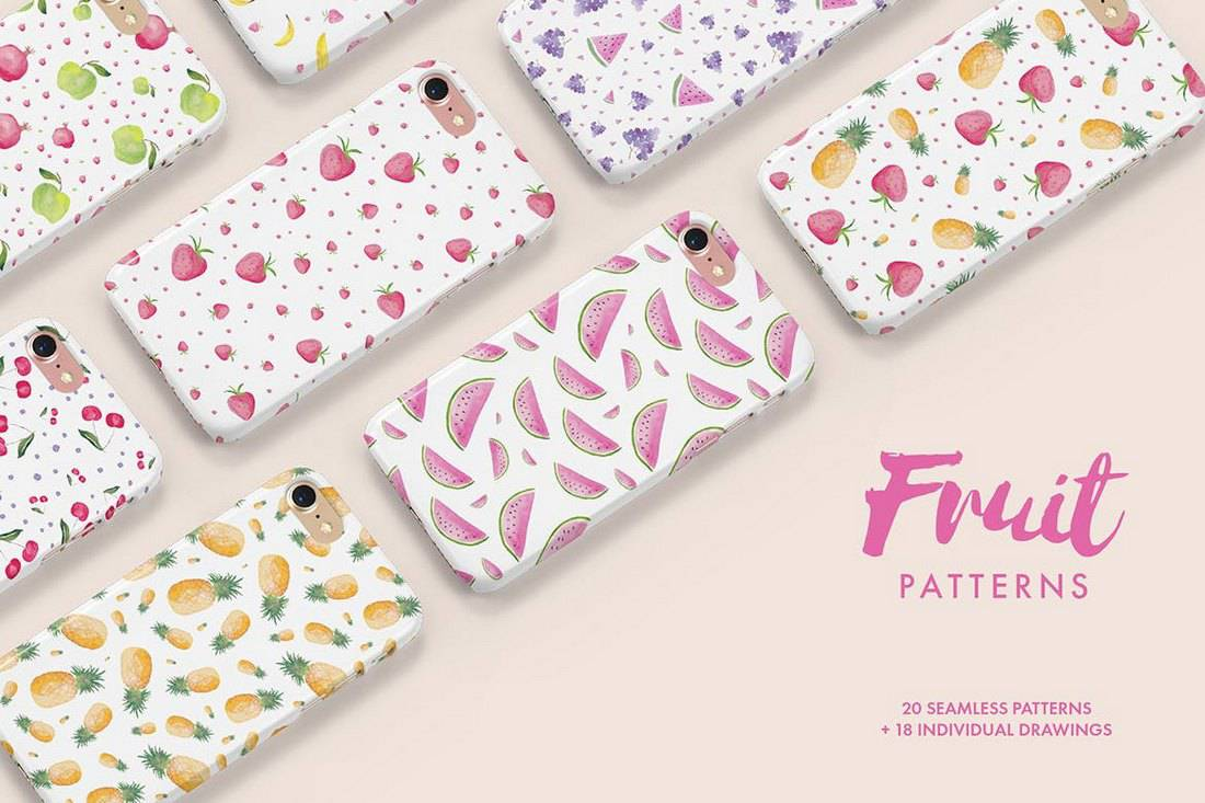 Watercolor-Fruit-Patterns 50+ Best Free Photoshop Patterns 2021 design tips