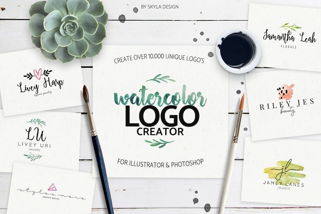 Watercolor Logo Creator Kit