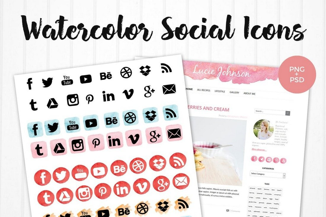 Watercolor Social Media Icons for Instagram