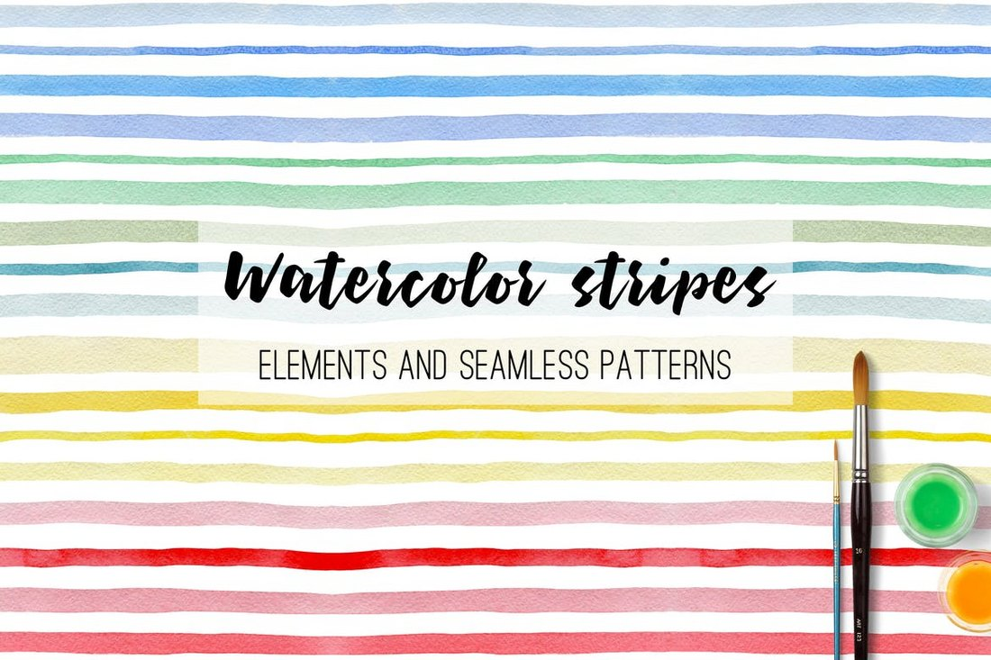 Watercolor Stripes and Patterns