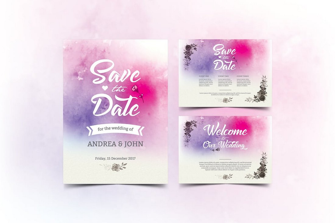 Watercolor-Wedding-Invitation-Save-The-Date-Templates 15+ Gorgeous Save the Date Wedding Templates design tips