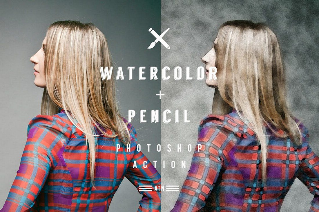 Watercolor-and-Pencil-Action-for-Photoshop 20+ Best Watercolor Photoshop Actions design tips