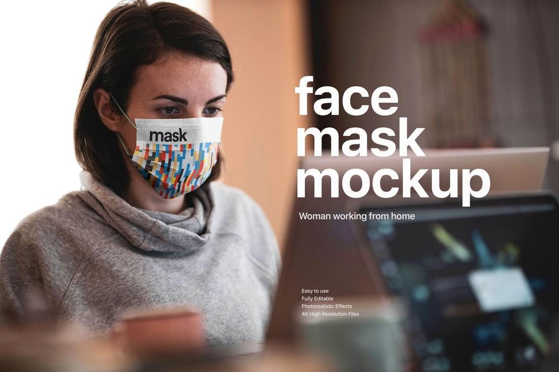 Wearing Face Mask At Work Mockup
