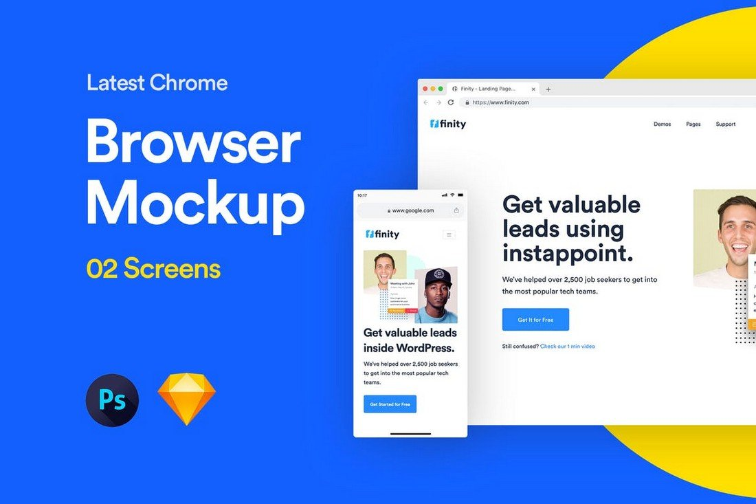 Website Browser Mockup Sketch & PSD Template
