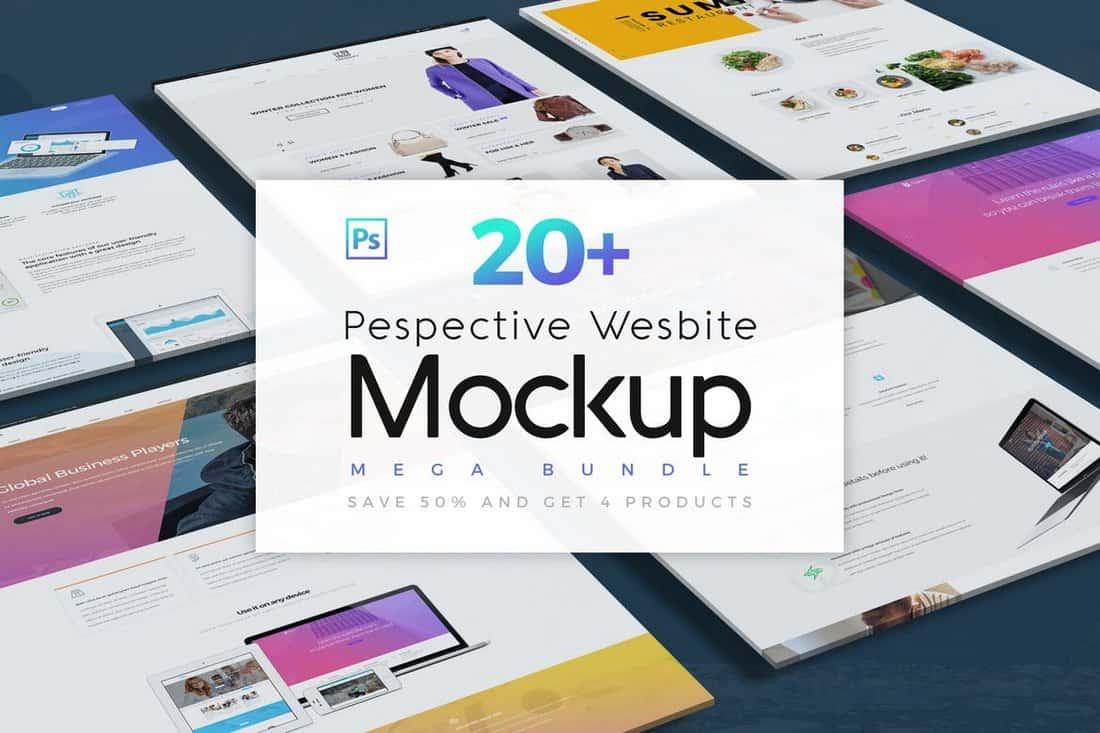 Website Isometric Mockup Templates Bundle