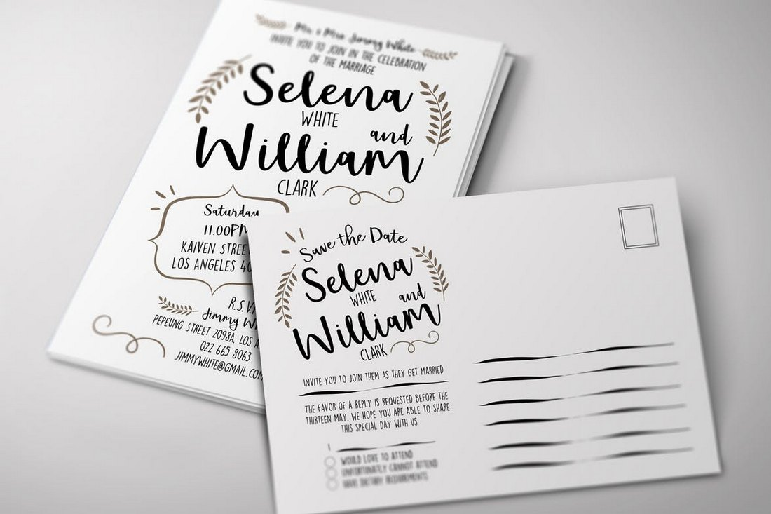 Wedding-Invitation-Postcard-Template 15+ Gorgeous Save the Date Wedding Templates design tips
