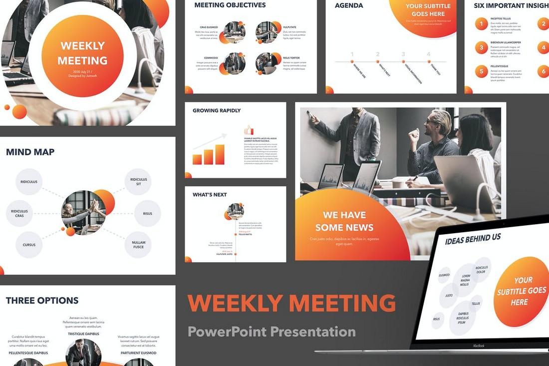 Weekly-Meeting-PowerPoint-Template 20+ Best Webinar PowerPoint Templates (Remote Presentation PPT Slides) design tips