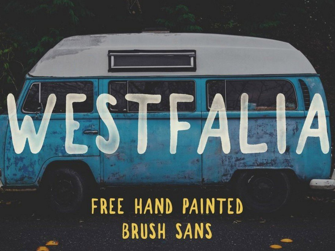 Westfalia - free hand drawn painted brush font