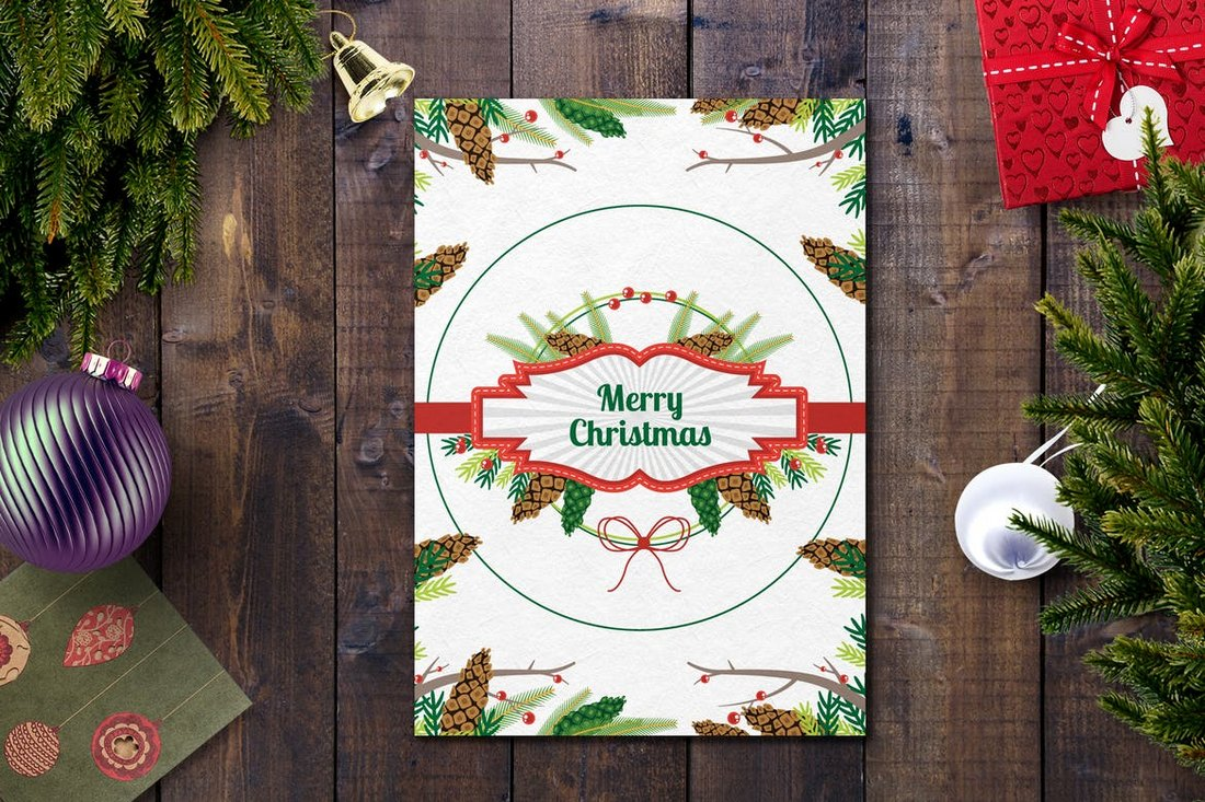 White Christmas Card Template