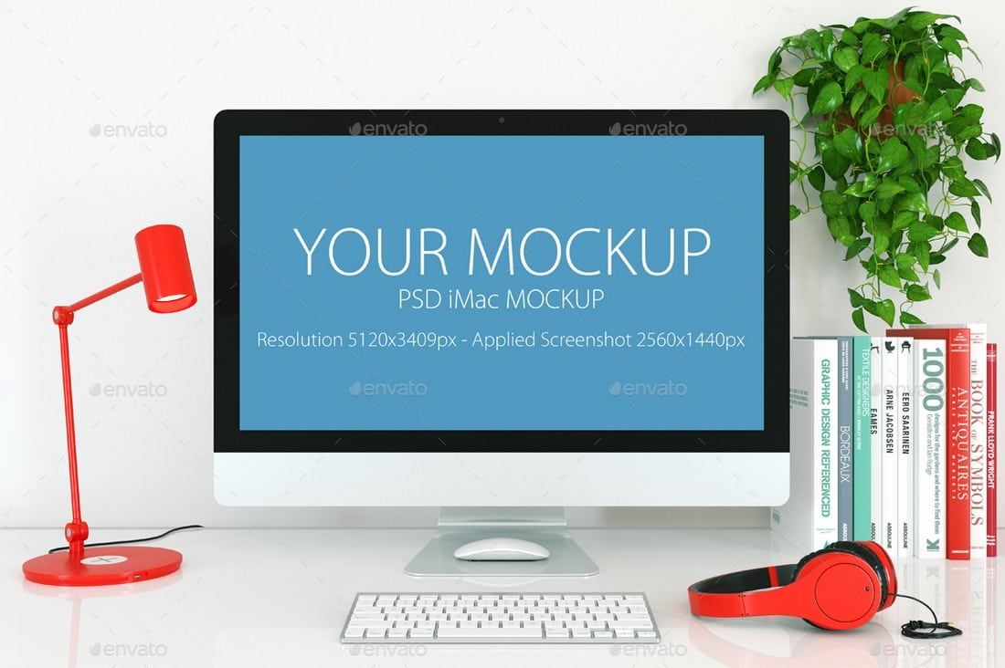 White iMac Desktop Mockup Template