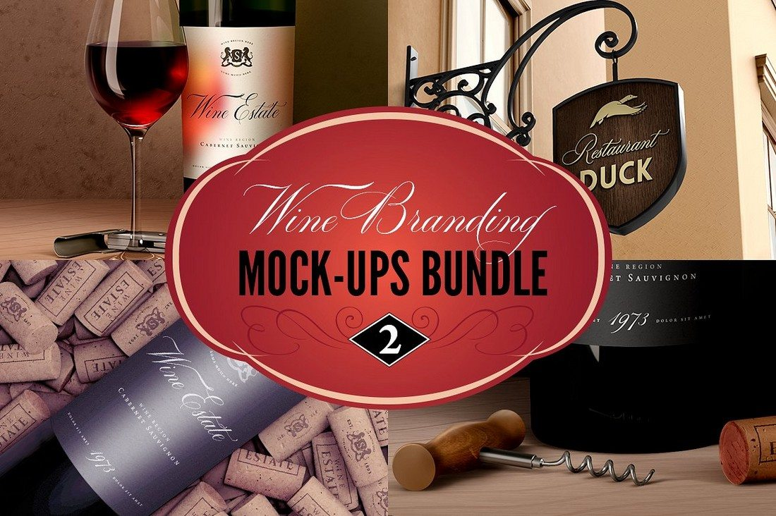 Wine-Restaurant-Mock-Ups-Set 40+ Stunning Vintage Mockup Packs & Graphics design tips