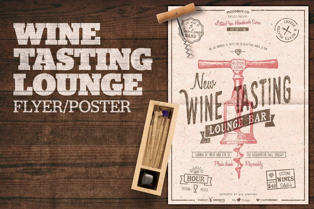 Wine-Tasting-Lounge-Flyer-Poster 27 Inspiring Letterpress Style Posters design tips