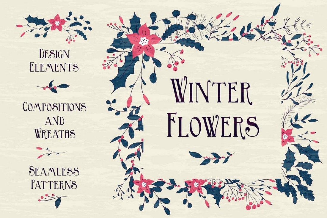 Fond de fleurs d'hiver