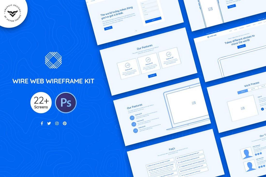 Wire Web Wireframe Kit PSD Templates