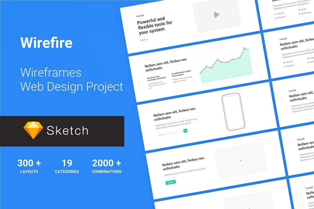 WireFire - 300+ Website Wireframe Templates for Sketch