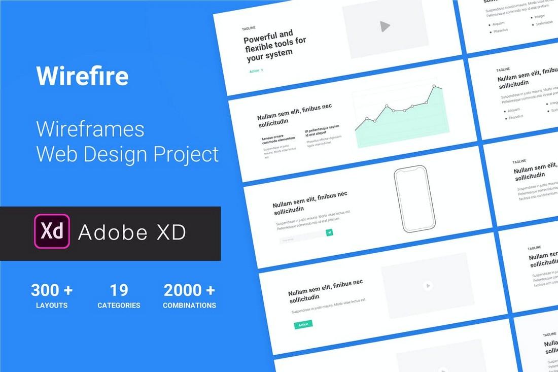 Wirefire - Website Wireframe Kit for Adobe XD