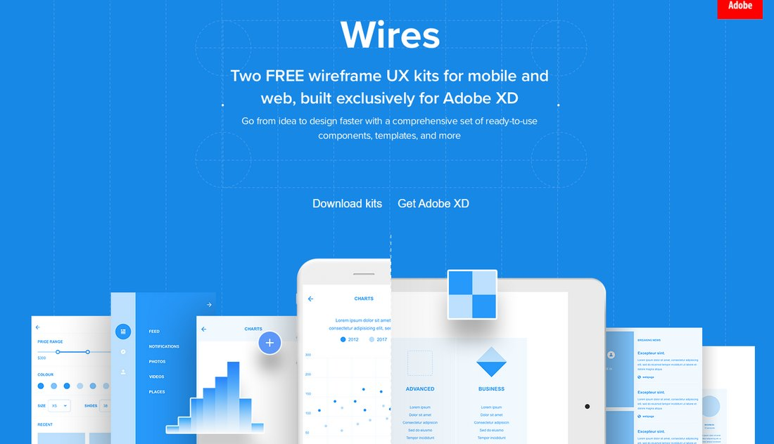 Wires - Free Wireframe Kit for Adobe XD