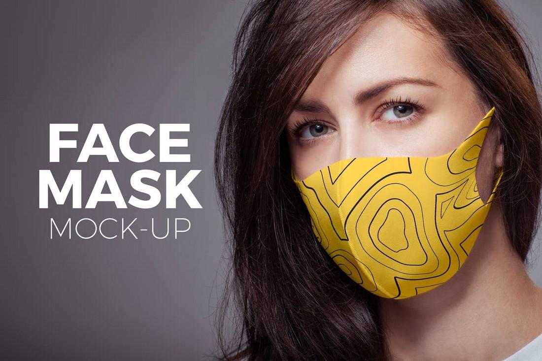 Woman Wearing Face Mask Mockup PSD