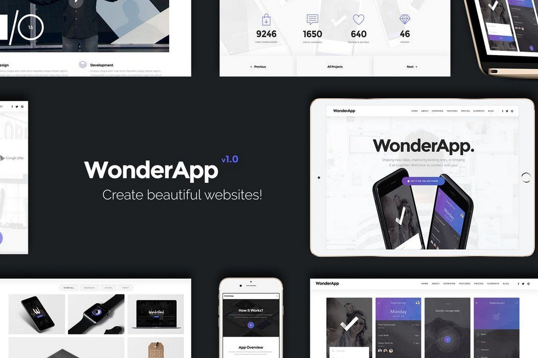 WonderApp-Multi-Purpose-Landing-Page 50+ Best App Landing Page Templates 2021 design tips