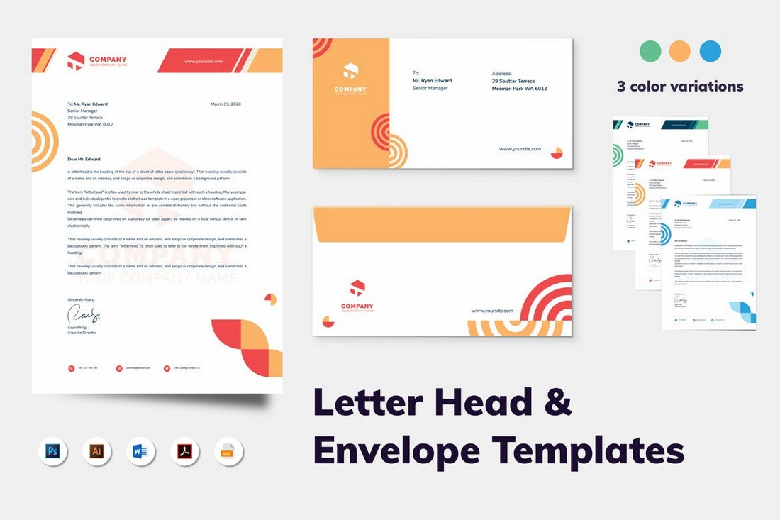Word Letterhead & Envelope Template Kit