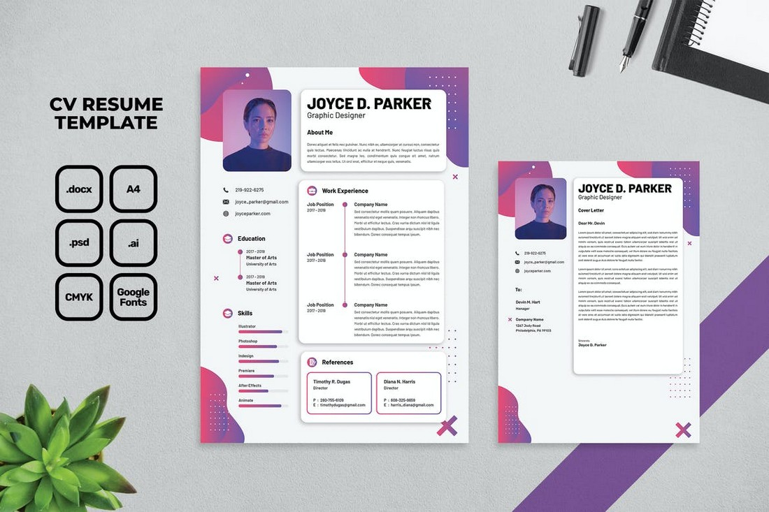 Word Resume & Cover Letter Template for Designers