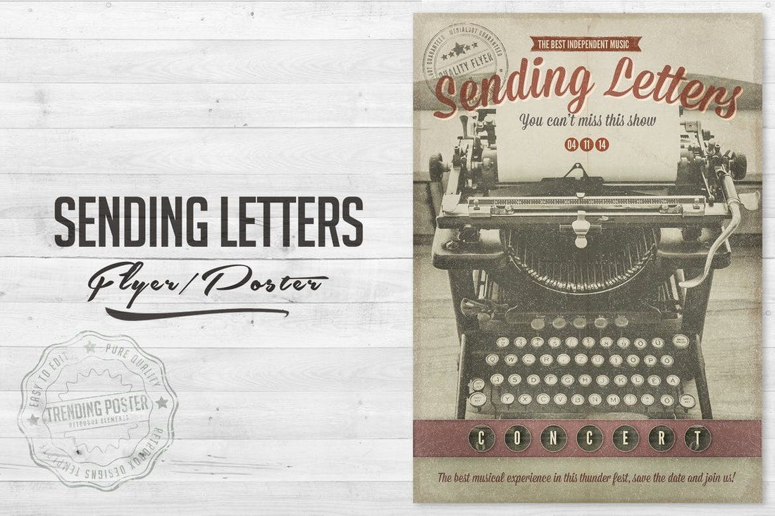 Writing-Letters-Poster-Flyer 27 Inspiring Letterpress Style Posters design tips