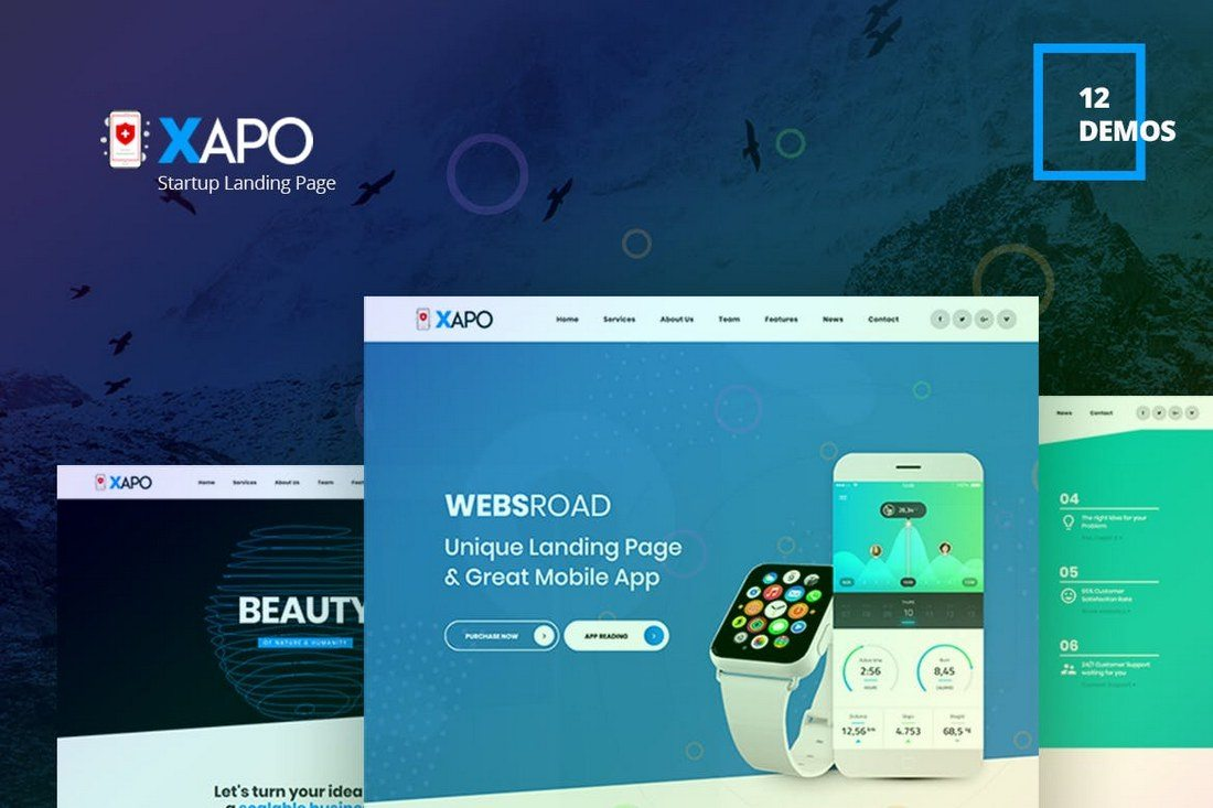Xapo-Responsive-Landing-Page-Template 30+ Clean & Minimal Landing Page Templates design tips
