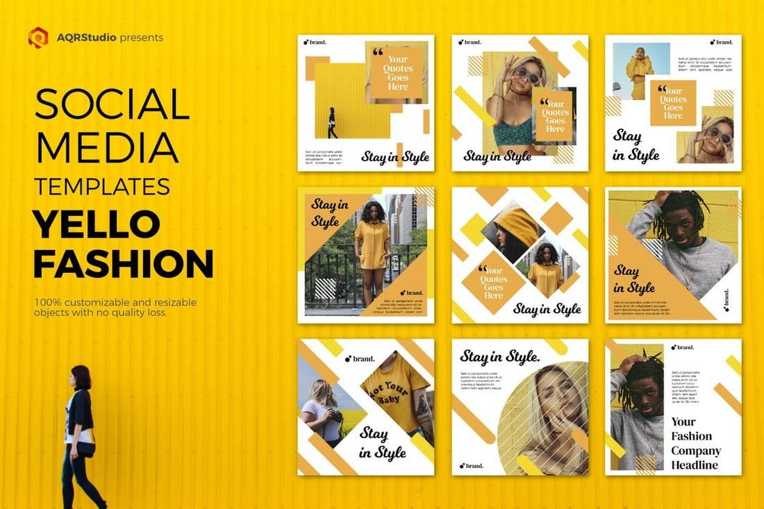 Yello-Fashion 40+ Best Social Media Kit Templates & Graphics design tips
