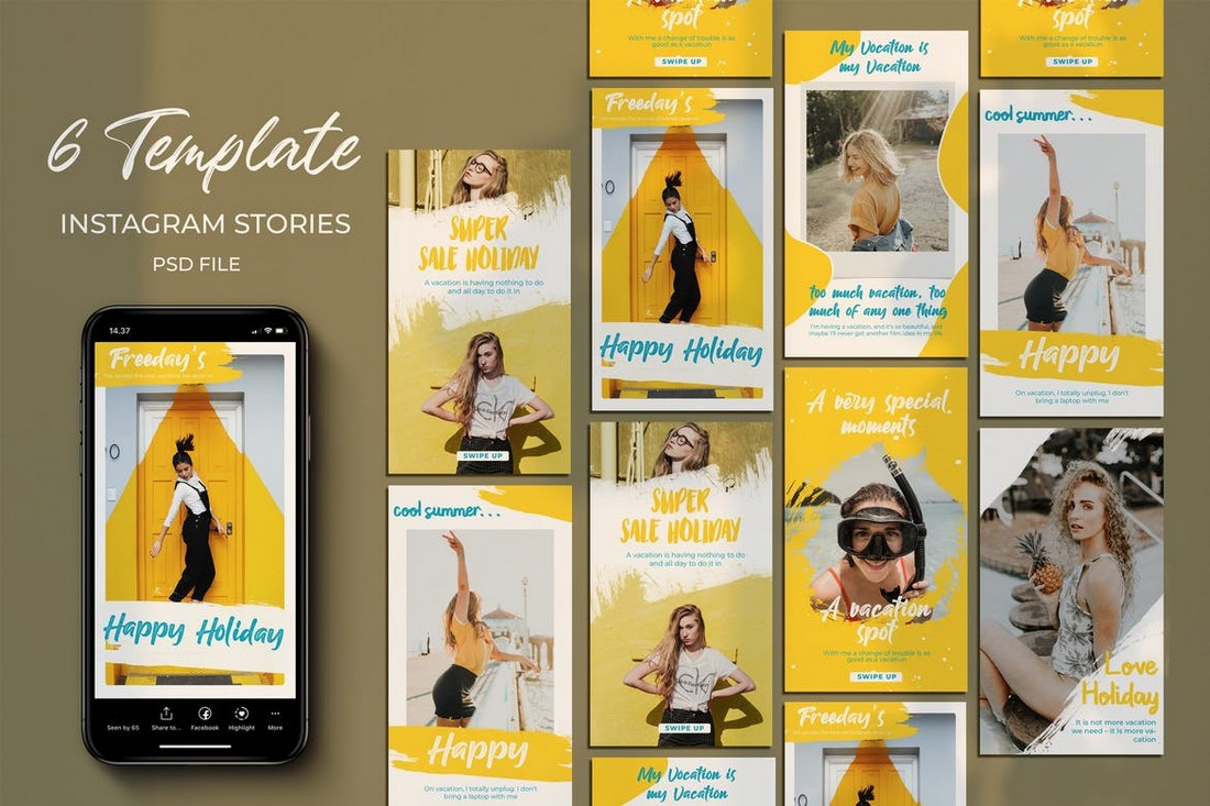 Yellow Holy - 6 Instagram Story Templates