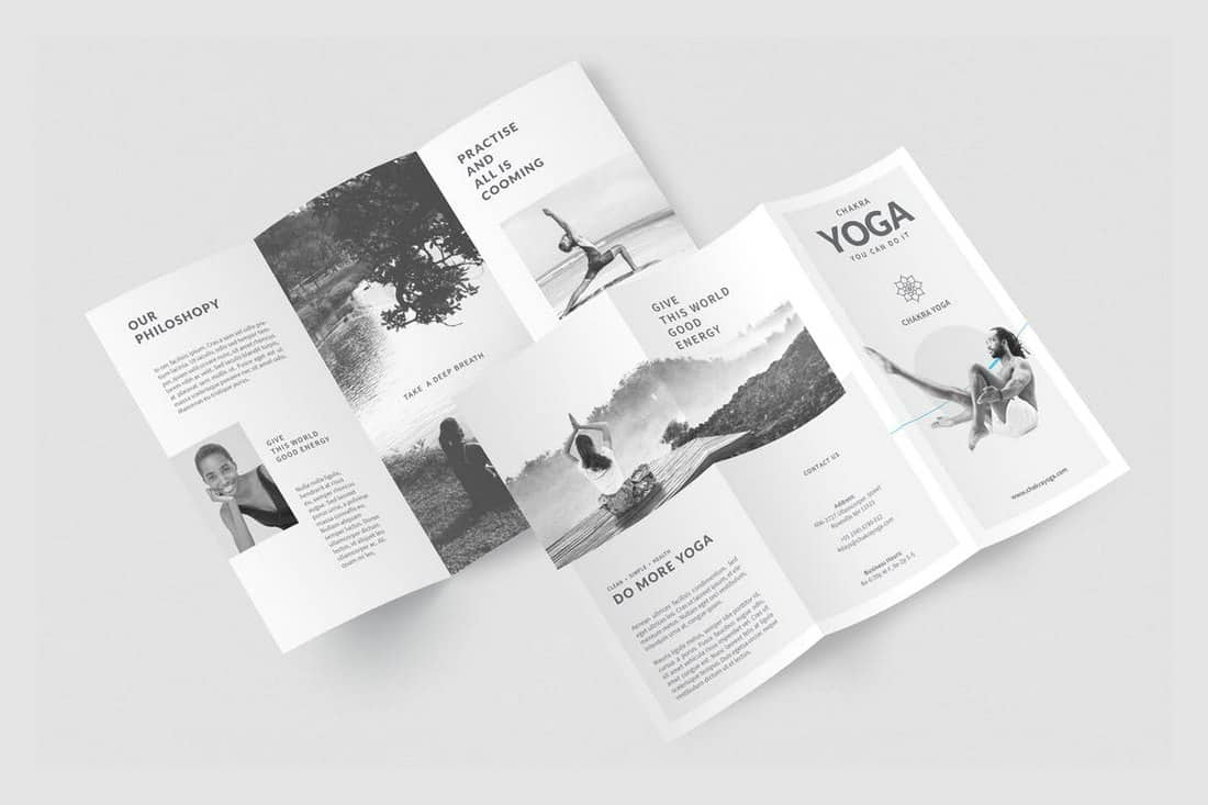 Yoga Minimalist InDesign Trifold Template