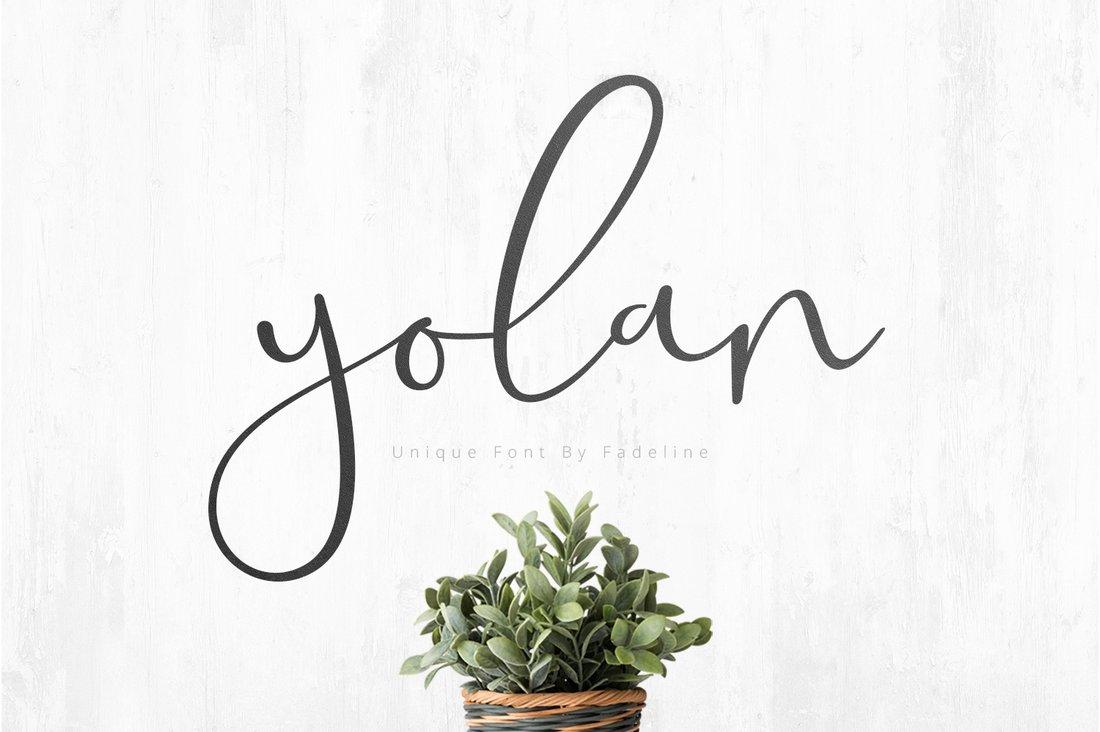 Yolan - a free unique script font