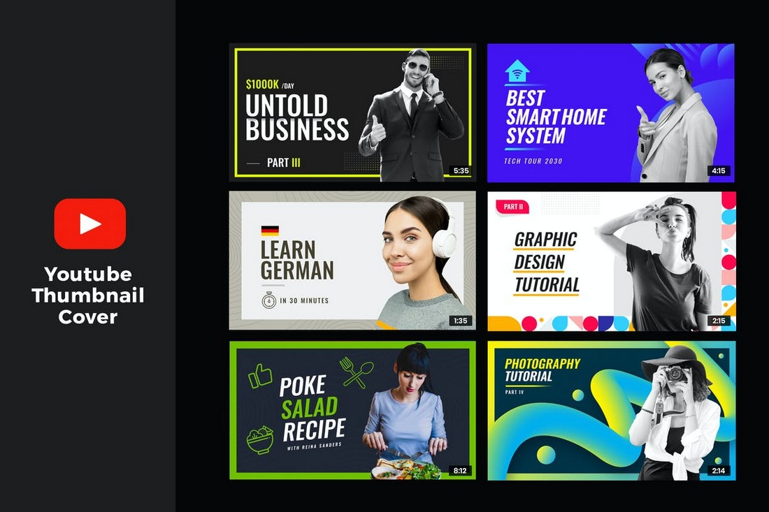 YouTube-Thumbnail-Templates-for-Tutorial-Videos 20+ Best YouTube Thumbnail Templates in 2021 design tips