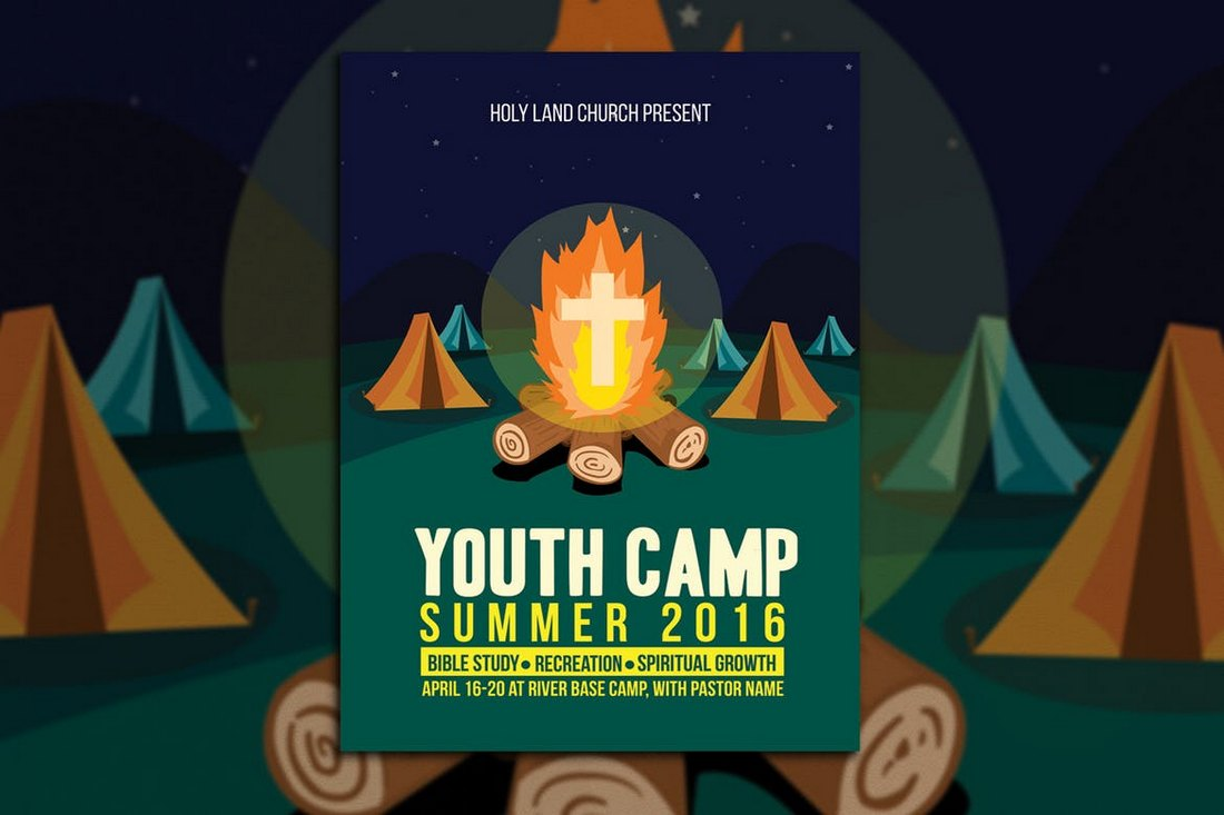 Youth-Camp-Church-Flyer-Template 20+ Church Bulletin & Newsletter Templates design tips