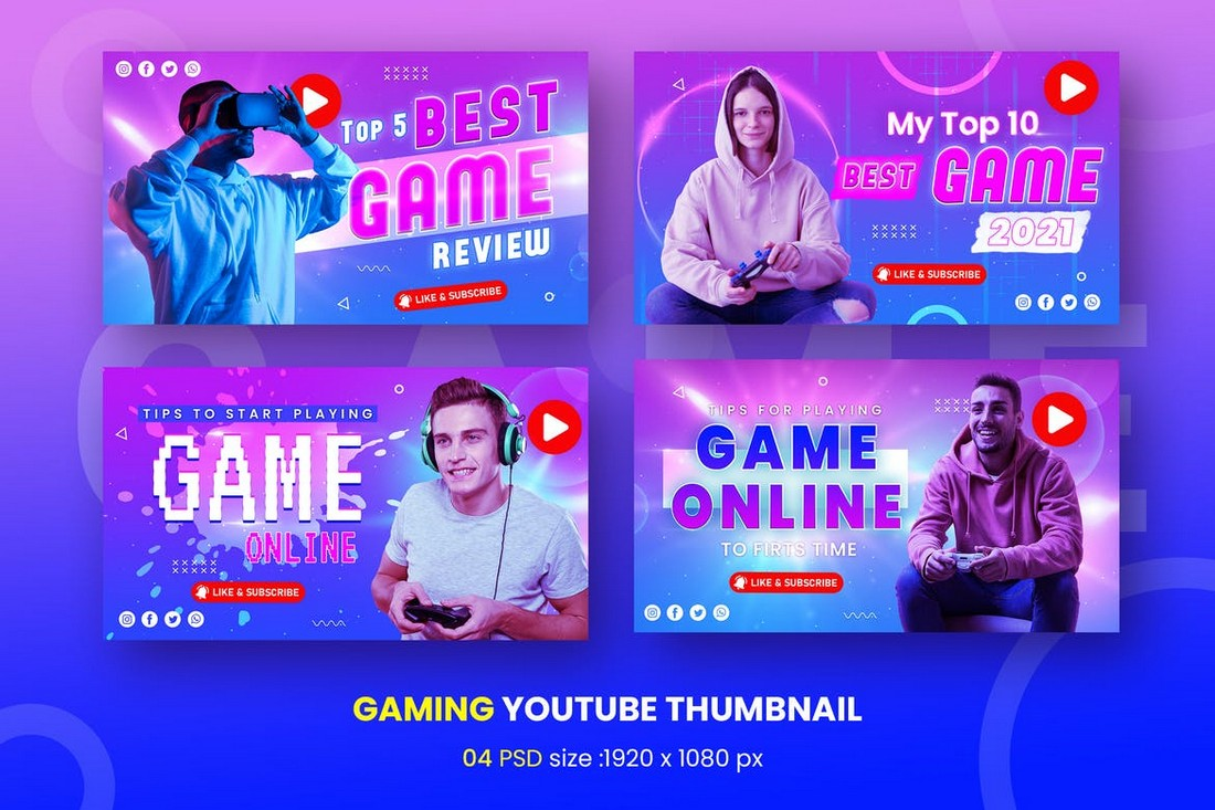 Youtube Thumbnail Template for Gaming Videos