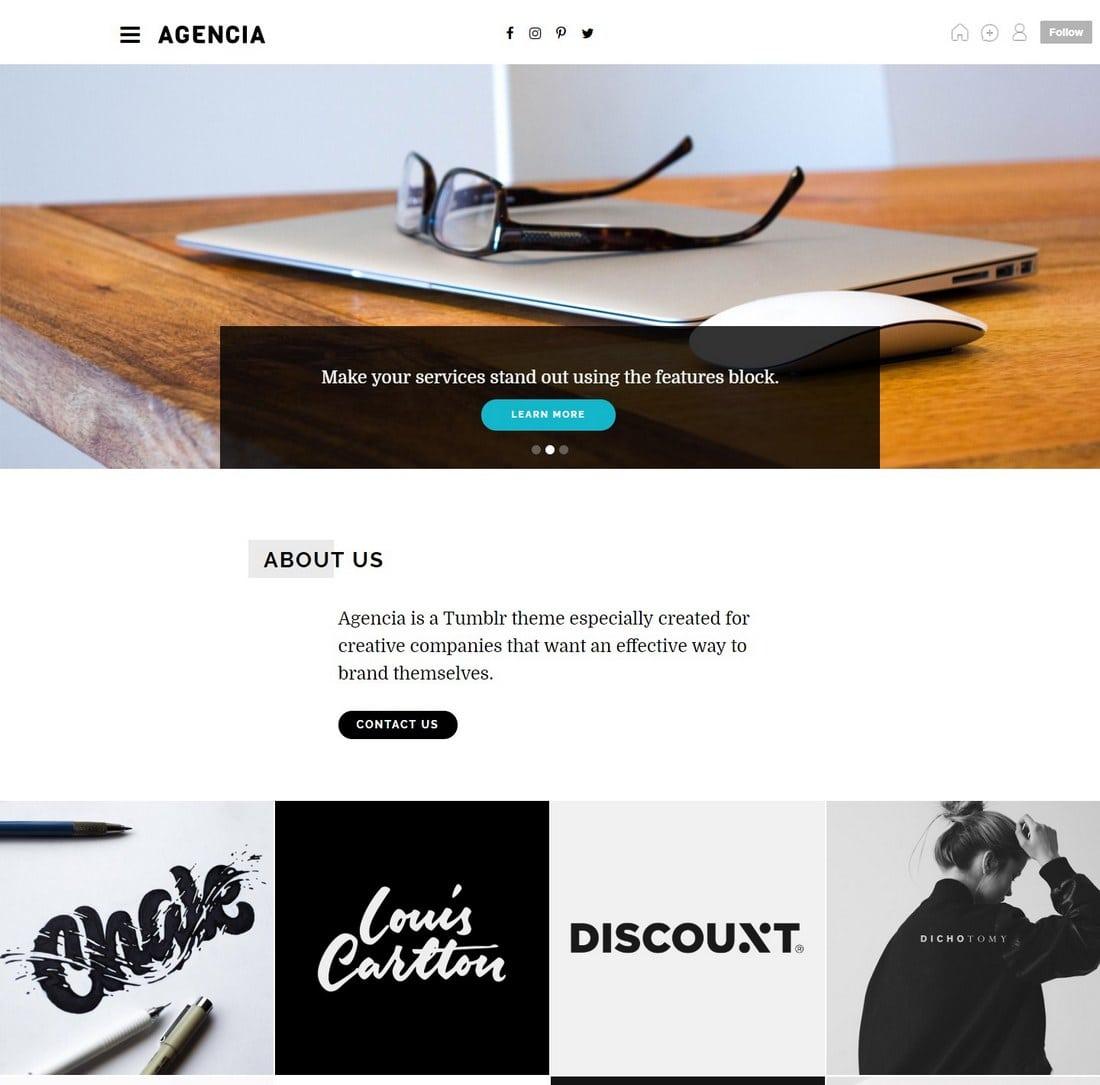 agencia-tumblr-theme 50+ Best Free & Premium Tumblr Themes 2018 design tips