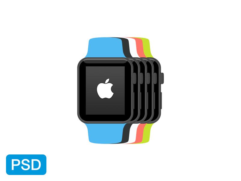 apple_watch_flat_mockup 50+ Apple Watch Mockups & Graphics design tips