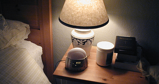 Night side stand with alarm clock
