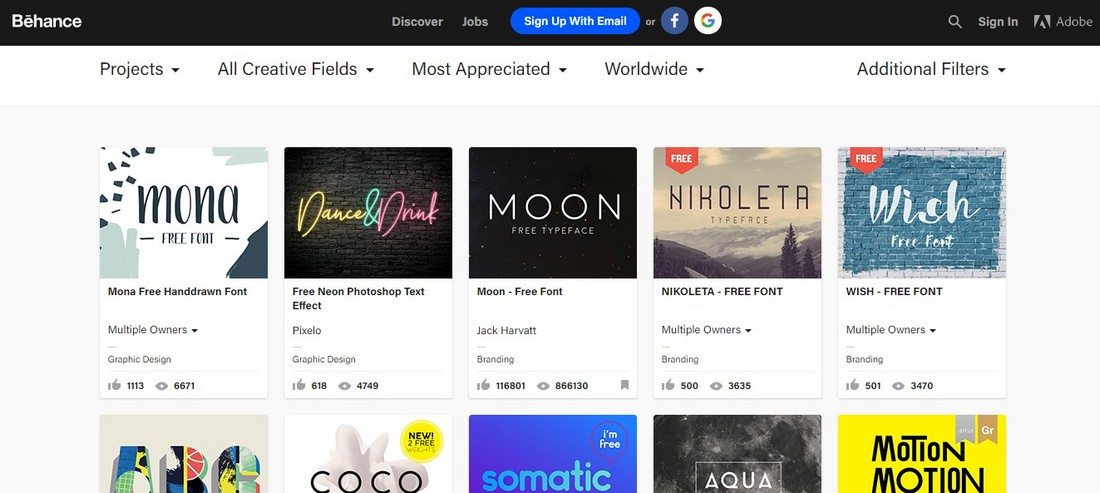 behance-1 10+ Best Places to Find Free Fonts design tips  Inspiration|Typography|fonts|free