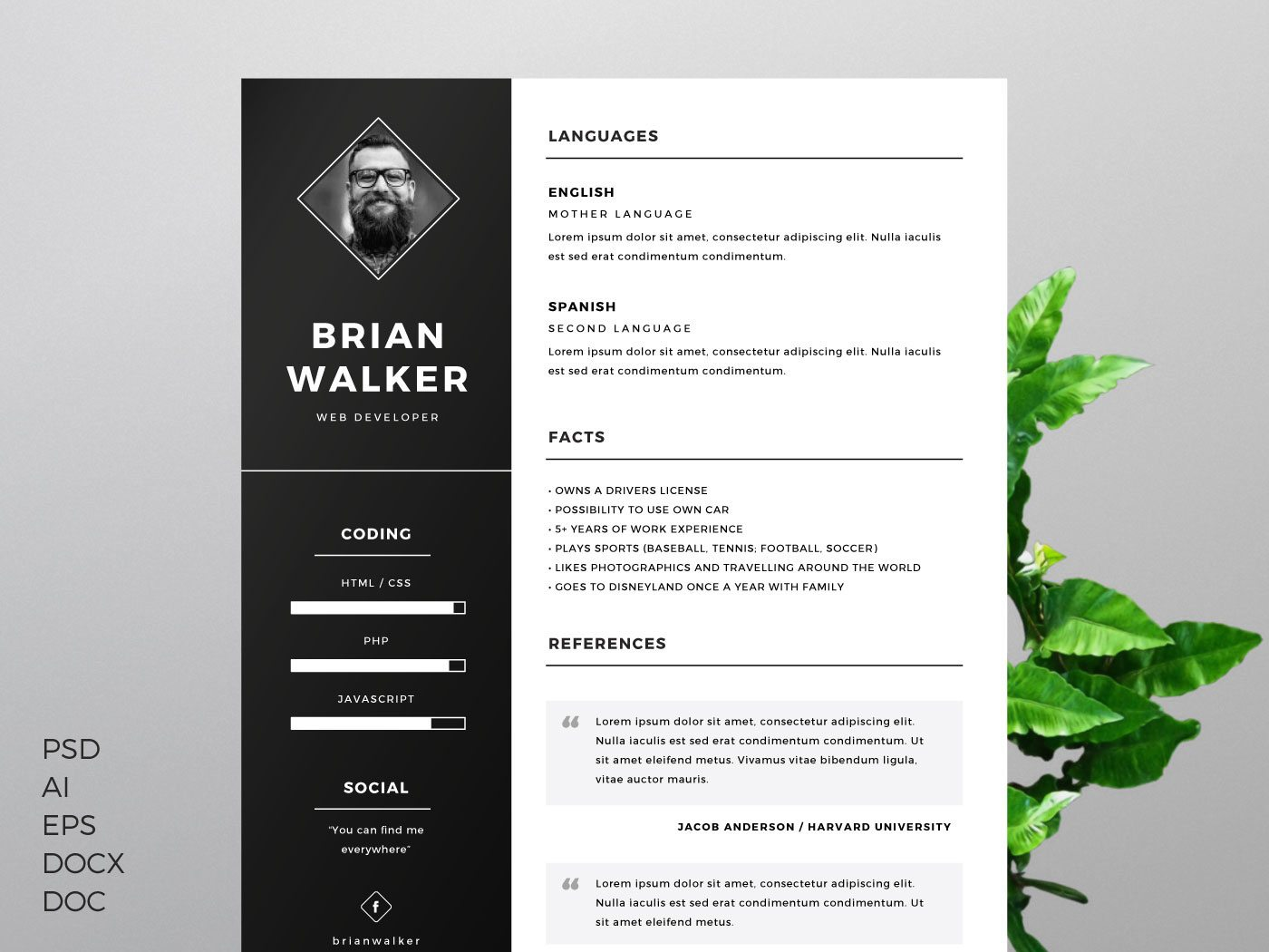 template cv design Resume Template for Word, Photoshop & Illustrator
